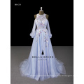 2017 new arrival baby blue evening dress with lantern sleeves