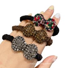 Korean Hair Tie Rhinestone Bow Knot Elastic Band Ring Cute Girl Ponytail Head Rope Rubber Female Fashion Accessories
