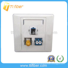 3-Port SC-ST-LC Hybrid Fiber Optic Faceplate/ Wall Plate