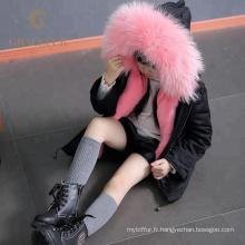 La meilleure parka de vraie fourrure de raton laveur de qualité avec doublure de fourrure épais manteau d'hiver de luxe