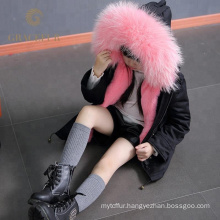 Best quality real raccoon fur parka with fur lining thick winter coat luxury