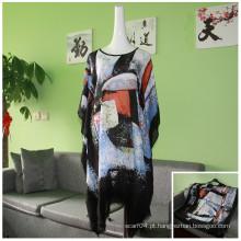 2016 senhoras nova moda impresso irregulares solta blusa manga Bat