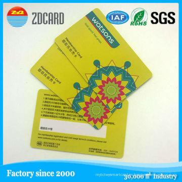 Tarjeta transparente vendedora caliente del PVC / tarjeta de identificación elegante / tarjeta de visita del PVC