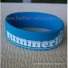 Bracelet en silicone rempli de couleur debossed