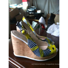 African Printed Fabric Peep Toe Shoes (HCY02-111)