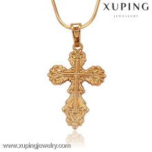 32142-Xuping Disponível jóias de ouro jesus peça pingente cruz