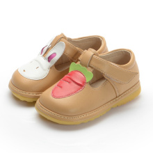Light Tan Girl Baby Shoes Rabbit Carrot T Strap Shoe