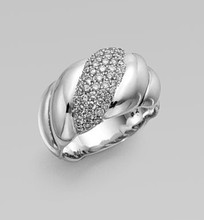David Yurman Diamond Sterling Silver Cable Ring