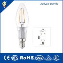 Bombilla de vela de filamento de luz diurna / LED Pure White de 3W E14