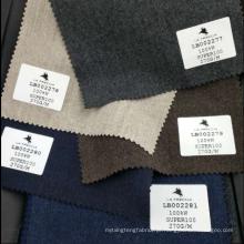 Material de lã marrom de flanela macia de alta qualidade adequando estoque de tecido super 100