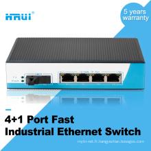 commutateur de réseau extérieur industriel uninageable de mode simple de firber 4 ports 100M