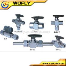 Conexão de compressão de alta pressão 1/2 válvula de esfera de aço inoxidável de 3 vias