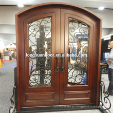 Porta de entrada de ferro forjado, painéis de vedação de ferro forjado