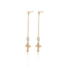 97287 xuping jewelry 18K gold color fashion Synthetic CZ women's cross drop earrings