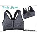 Sostén deportivo transpirable de desgaste de yoga con color personalizado con cremallera en el frente central