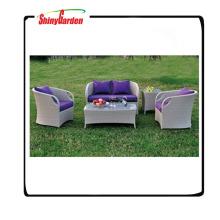 muebles de jardín de los sofás de lujo del ratán, muebles de jardín de mimbre de la imitación, sistema de sofá de la rota de aluminio 4pcs