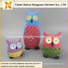 Colores Hollow-out lechuza de cerámica para la decoración del hogar