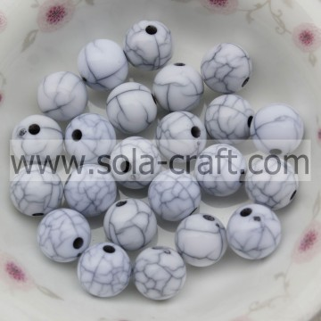 Nuevo Mixed Acrylic Crack White Round Beads Jewelry Spacer Beads