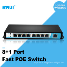 IEEE802.3af 250meters 10 / 100M 48v 8 port 9 ports poe commutateur