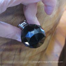 Bouton de tirette en céramique de cristal noir 30mm sans serrure