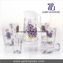 7PCS Beautiful Drinking Glass Set with Heat Transfer Printing