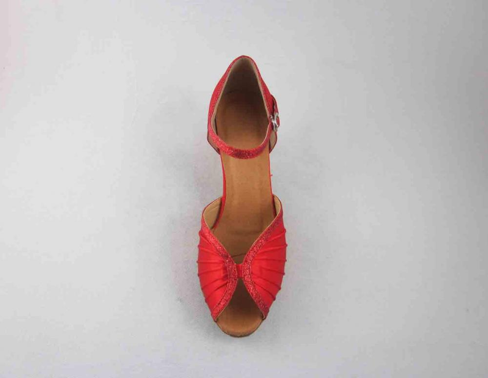 Red Satin Salsa Shoes