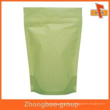 Bolsa de papel kraft de venta caliente con cierre zip para embalaje de chocolate
