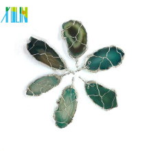 Different Color Freeform Wire Wrapped Agate Slice Pendant Charm For Necklace Jewelry