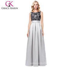 Grace Karin sin mangas vestido de fiesta de baile de larga duración Scoop cuello satén vestido de noche gris largo 8 Tamaño EE.UU. 2 ~ 16 GK000127-1
