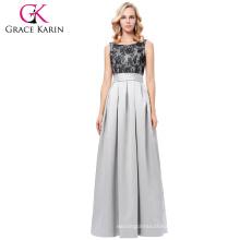 Grace Karin Sleeveless Prom Party Dress Full-Length Scoop Neck Satin Long Grey Evening Dress 8 Size US 2~16 GK000127-1