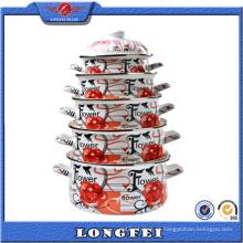 5pcs esmalte moda flor design casserole set
