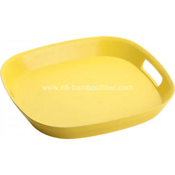 Square bamboo fiber flat handle tray