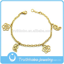 TKB-JB0189 Best-selling pure gold 316L stainless steel bracelets & bangles with delicate casting polished roses for ladies