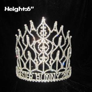 Coronas de perlas de cristal al por mayor de 6 pulgadas de altura