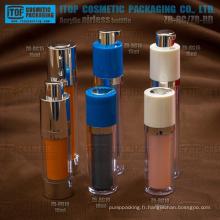 Petites et délicates large application haut de gamme double couches lotion rotatif pompe rond de bouteille en plastique cosmétique airless