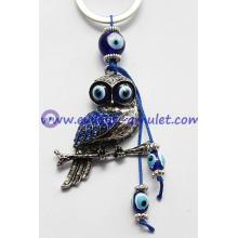 Alloy with acrylic diamond evil eye owl keychain