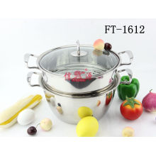 Stainless Steel Two Layers Steamer Pot with Lid (FT-1612-XY)