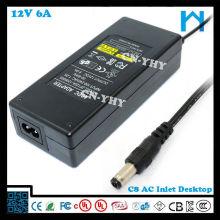 El cable de alimentación americano incluye el transformador ul 12v 6a CC tamaño del gato 5.5 * 2.1mm