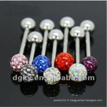 Bague de langue à cristaux brillants