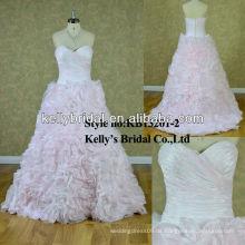 Klassisches preiswerteres helles rosafarbenes Hochzeitskleid