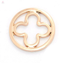 New style rose gold flower alloy window plates for round floating charms glass locket wholesale