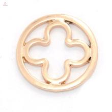 Novo estilo rose gold flower liga placas de janela para encantos rodada flutuante medalhão de vidro atacado