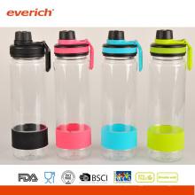 2015 Garrafas de água de plástico promocionais com garrafa de curvatura e esportes de silicone