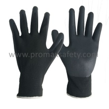 13G Grey Polyester Liner Black Foam Nitrile Palm Coated Gloves