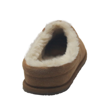 Best winter mens genuine leather wool fur slippers