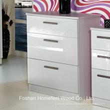 Dormitorio utilitario de alto brillo 3 cajones del gabinete del cajón (HC22)