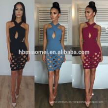 2017 venta caliente de color sólido cuello cruzado sexy vestido de noche de las mujeres