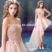 Партии одежды одежда розовый сексуальный девочки платье с плеча розовый вечернее платье спереди короткие сзади длинные