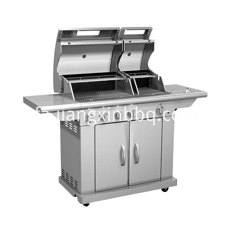 Split Lid Stainless Steel Gas Grill Lid Open View