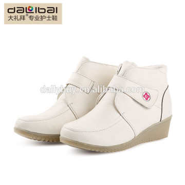 genuine leather women wedge heel ankle boots
